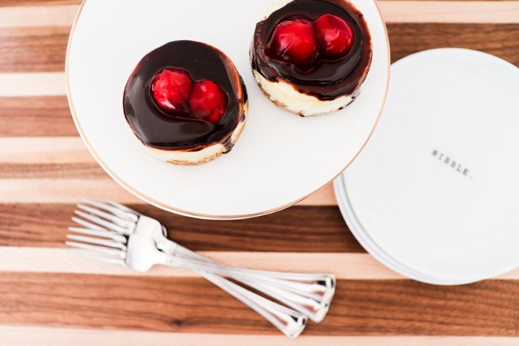 chocolate ganache mini cherry cheesecakes